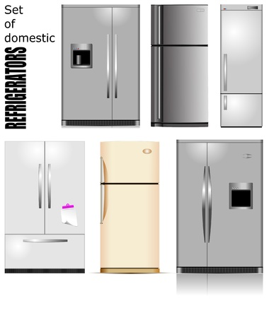 Big set of Domestic refrigerators  Vector illustration