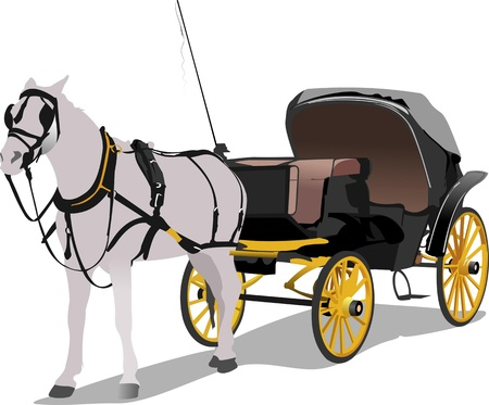 Vintage carriage and horse. Vector illustration