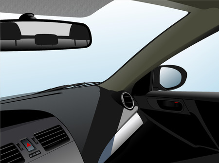 Car dashboard and interior. Vector illustration