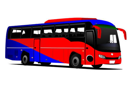 Illustration for Blue-red tourist or City bus on the road. Coach. Vector illustration - Royalty Free Image