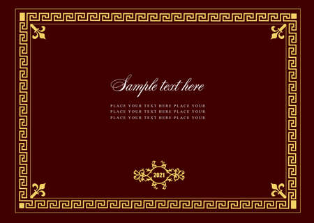 Illustration for Gold ornament on darck background. Can be used as invitation card. Vector illustration - Royalty Free Image