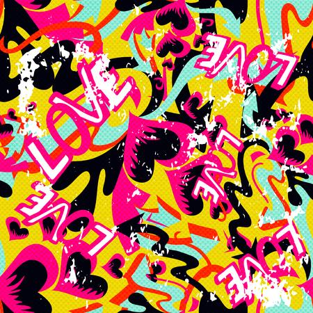 graffiti Valentine Day seamless background grunge texture