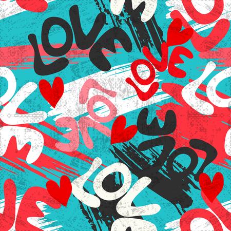 Valentines Day seamless vector pattern graffiti