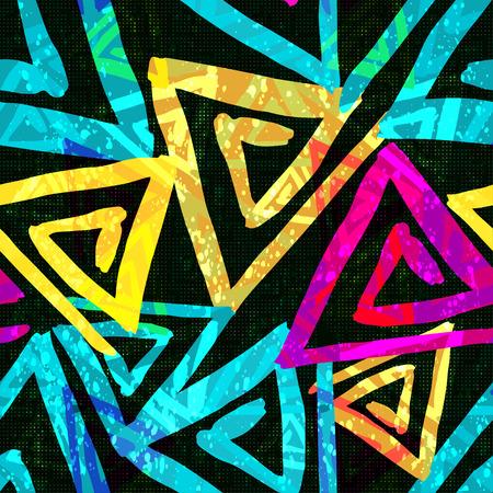 Graffiti bright psychedelic seamless pattern on a black background illustration