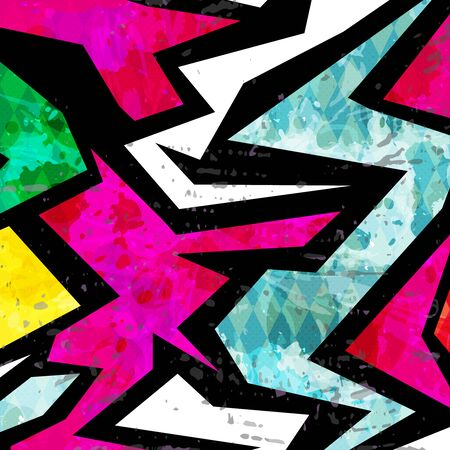 Illustration pour color abstract ethnic pattern in graffiti style with elements of urban modern style - image libre de droit