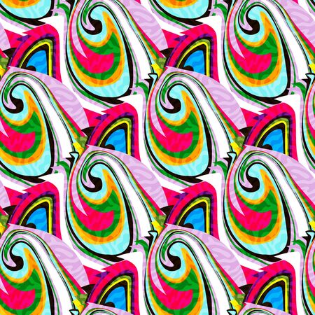 Illustration pour colorabstract ethnic seamless pattern in graffiti style with elements of urban modern style bright quality illustration for your design - image libre de droit