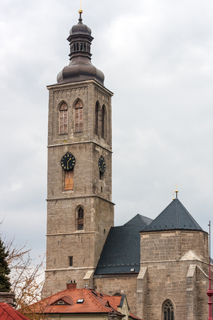 View of the tower of Saint James cathedral in Kutna Hora, Bohemia