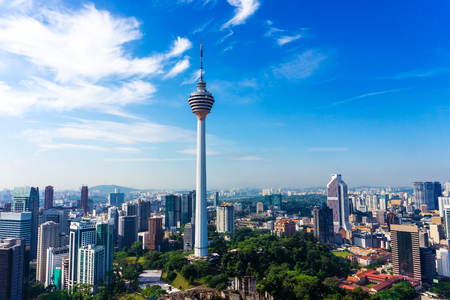 Photo pour Skyline of Kuala Lumpur downtown with skyscrapers and KL tower, Malaysia - image libre de droit