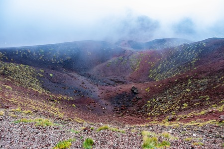 Aerial view Mount Etna volcanic crater one of the flank bowl-shaped craters