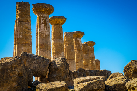 Photo for Remains of the Temple of Heracles in valley of the temples, Agrigento-Sicily - Royalty Free Image