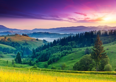 Majestic sunset in the mountains landscape. Carpathian, Ukraine, Europe. Beauty world.