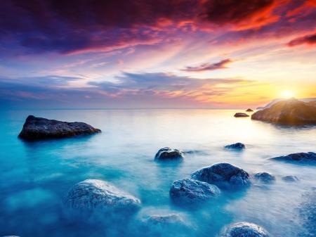 Photo for Majestic summer sunset over the sea. Dramatic overcast sky. Crimea, Ukraine, Europe. Beauty world. - Royalty Free Image