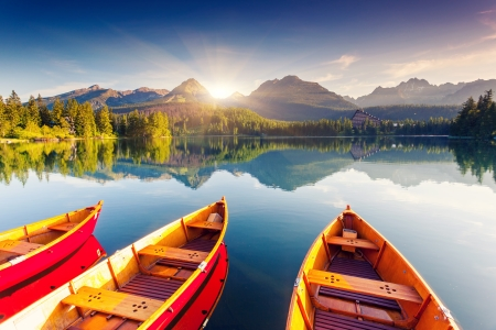 Mountain lake in National Park High Tatra. Strbske pleso, Slovakia, Europe. Beauty world.の写真素材