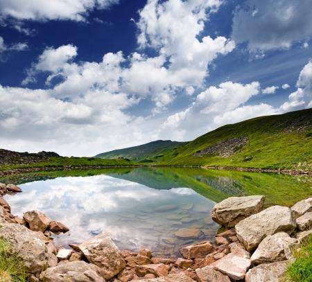 Beautiful mountains landscape over a calm lake