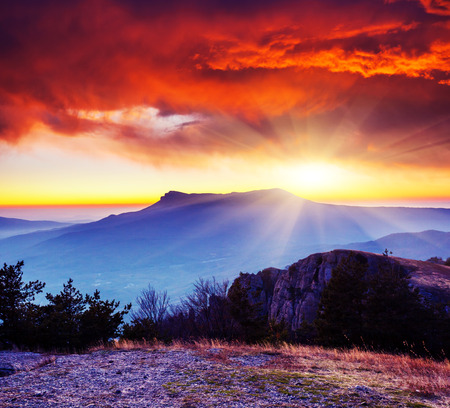 Majestic morning mountain landscape. Dramatic overcast sky. Crimea, Ukraine, Europe. Beauty world.