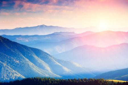 Foto de Majestic panorama of green mountains with sunny beams. Dramatic scene in National Park, Carpathian, Ukraine - Imagen libre de derechos