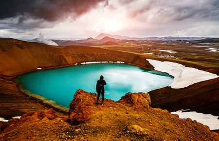 Photo pour Exotic view of the geothermal valley Leirhnjukur. Popular tourist attraction. Dramatic and picturesque scene. Location place Myvatn lake, Krafla, Iceland, Europe. Discover the world of beauty. - image libre de droit