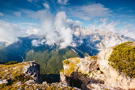 Photo for Striking image of rocky massif. Gorgeous day and picturesque scene. Location National Park Tre Cime di Lavaredo, Misurina, Dolomiti alp, Tyrol, Italy, Europe. Explore the world's beauty and wildlife. - Royalty Free Image