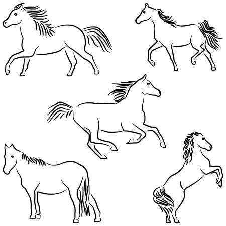 Drawn stylized horses