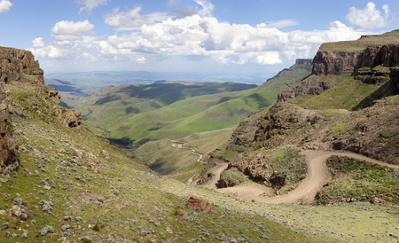 Sani Pass Panorama, on the border of South Africa and Lesotho