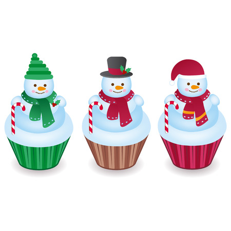 Cute snowman cupcakes isolated on a white background
