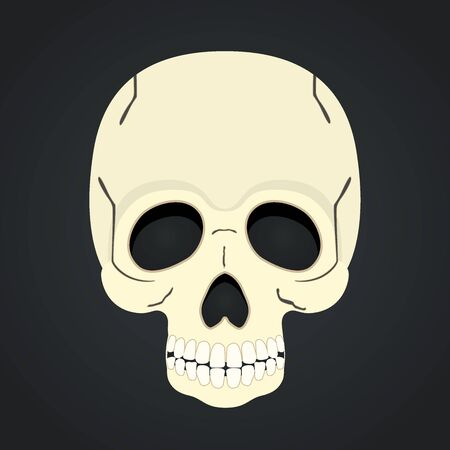 Illustration pour Vector skull, dead head isolated on black background. - image libre de droit