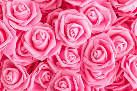 Photo pour background of pink flowers. Artificial pink roses, foamiran roses. fake flowers. soft focus - image libre de droit