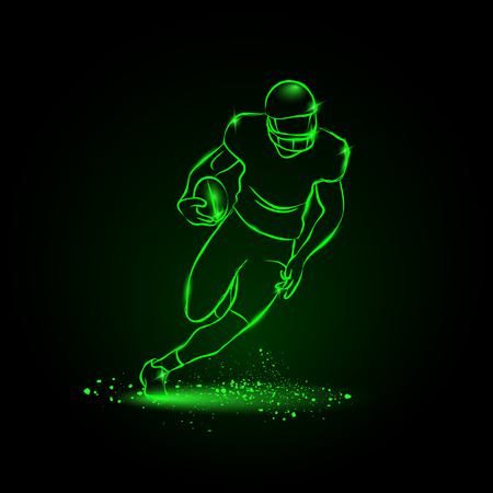 Illustration pour Football. The player runs away with the ball. neon style - image libre de droit