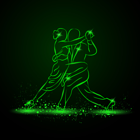 Illustration for Couple dancing tango. Vector green neon illustration. - Royalty Free Image