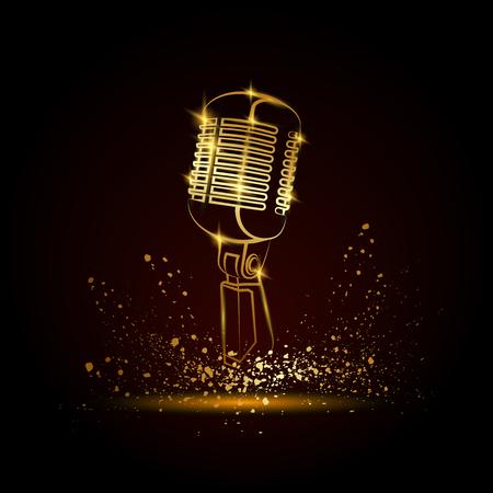 Illustration pour Golden microphone illustration on a black background. Music festival background for flyer, banner, billboard. Music group cover disk template. - image libre de droit