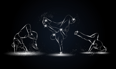 Silver linear b-boys dancers set on black background. Hip hop dance background for poster and flyer.