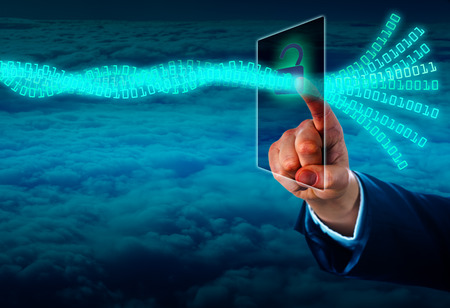 Hand of a manager unlocking a virtual data stream via a touch screen in cyberspace. Concept for authenticated data access or cyber crime. Copy space over the closed cloud front shot from high above.