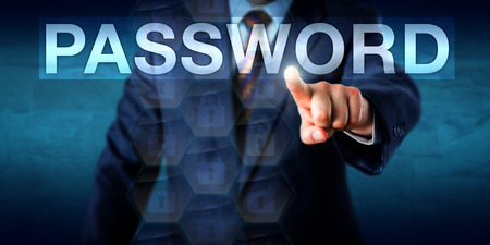 Photo pour White collar worker is pressing a PASSWORD text box on a touch screen interface. Business metaphor for authorized network access and secure authentication processes. Copy space over blue background. - image libre de droit