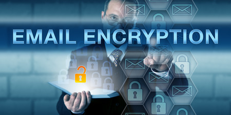 Photo pour Security director is pushing EMAIL ENCRYPTION on a virtual touch screen interface. - image libre de droit