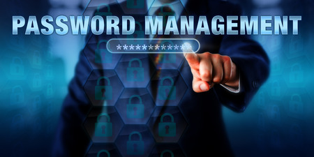 Photo pour Corporate administrator is touching PASSWORD MANAGEMENT on an interactive virtual screen. Information technology concept for access control via organized management of user authentication. - image libre de droit