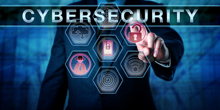 Photo pour Security engineer is pushing CYBERSECURITY on an interactive virtual control screen. Computer security concept and information technology metaphor for risk management and safeguarding of cyber space. - image libre de droit