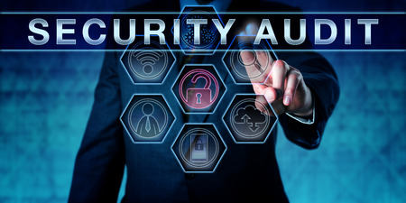 Photo pour Corporate IT manager pushing SECURITY AUDIT on an interactive virtual touch screen monitor. Business challenge metaphor and information security concept for vulnerability scan and network analysis. - image libre de droit