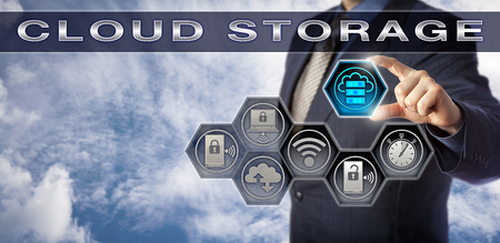 Blue chip data manager plugging virtual storage capacity icon into CLOUD STORAGE application interface. Technology concept for virtualized infrastructure, near-instant elasticity and cloud computing.
