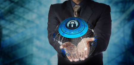Foto de Blue chip manager is offering a secure managed services solution in the two open palms of his hands. IT concept for data storage, mobility management, global communications and computer network. - Imagen libre de derechos