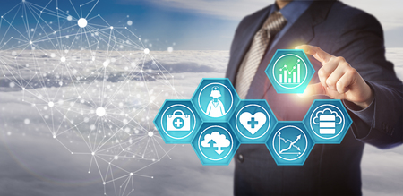 Foto für Unrecognizable database manager retrieving medical data in an electronic network. Business concept for management of health information technology and improvement of healthcare service efficiency. - Lizenzfreies Bild