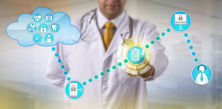 Photo pour Unrecognizable physician accessing electronic medical record and connecting with male patient. Healthcare IT concept for health information exchange, remote chronic care management and telemedicine. - image libre de droit