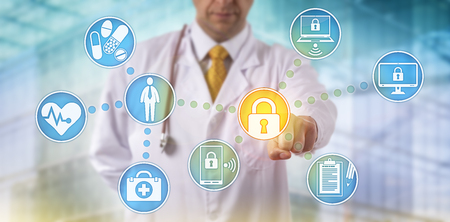 Photo pour Unrecognizable doctor of medicine securing patient medical records across multiple devices via a computer network. Healthcare IT concept for security of health information exchange and data privacy. - image libre de droit