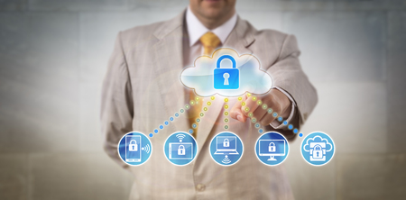 Unrecognizable manager accessing data on networked devices. Internet and enterprise concept for cloud data center, private computing solutions, infrastructure as a service and authentication.