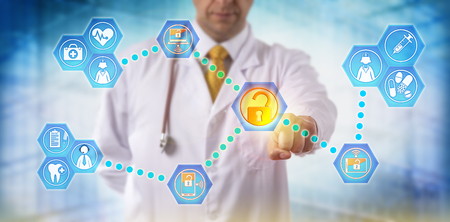 Photo pour Unrecognizable doctor sharing health care data with medical staff via networked, secure, mobile devices. Healthcare IT concept for information exchange, telemedicine and virtualization security. - image libre de droit