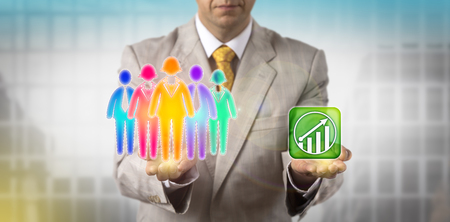 Photo for Unrecognizable HR manager is balancing a multicolored work team of five versus an upward growth trend icon. Business concept for HRM, cultural diversity, inclusion policy, teamwork and staffing. - Royalty Free Image