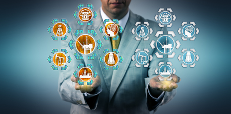 Photo pour Corporate executive presenting a digital twin of an offshore oil drilling platform. Industry and technology concept for virtual copy, digital transformation, virtualization and industrial internet. - image libre de droit