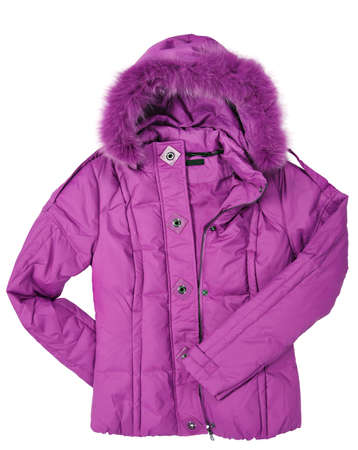 Woman pink coat with fur on white