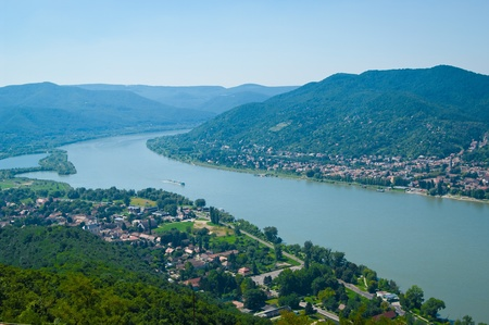 The Danube curve - panoramic view from hilltop at Visegrad, Hungary