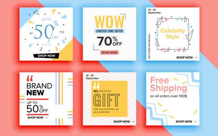 Illustration for Set of sale banner template design. Vector illustration. - Royalty Free Image