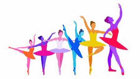 Illustration for Dancer growth concept on a white background in bright colors. Vector illustration of six ballerinas grow up on a white background. A horizontal banner for a dance school to show success, work on oneself, the daily work of a dancer or athlete - Royalty Free Image